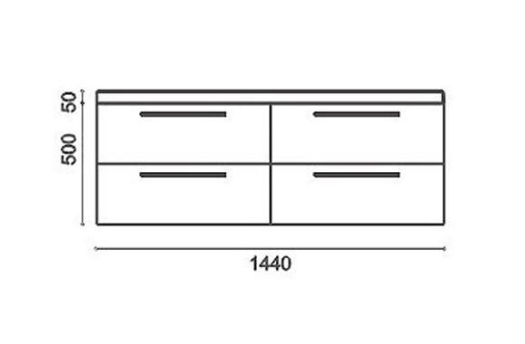 Badmöbel-Set R1440 Basic Walnuss (ohne Spiegelschrank) – Bild 2