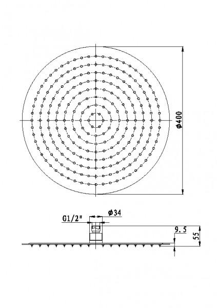 XXL-Regendusche Edelstahl-Duschkopf DPG2015 superflach - 40 cm rund – Bild 3