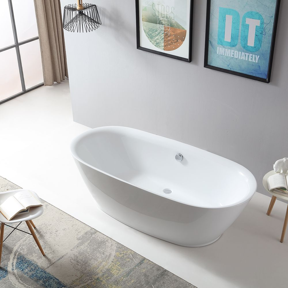 Freestanding Bathtub ROMA BS-916 - 180x84 cm - white - incl. Drain / overflow – Bild 1