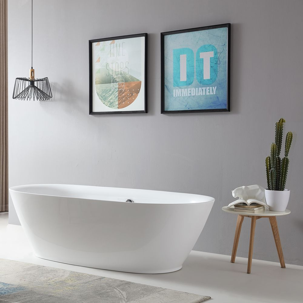 Freestanding Bathtub ROMA BS-916 - 180x84 cm - white - incl. Drain / overflow – Bild 2