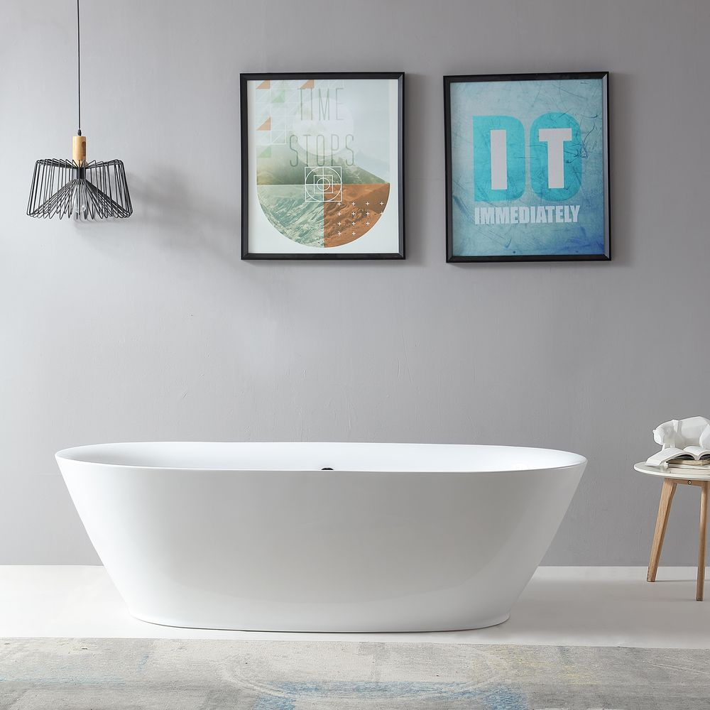 Freestanding Bathtub ROMA BS-916 - 180x84 cm - white - incl. Drain / overflow – Bild 3