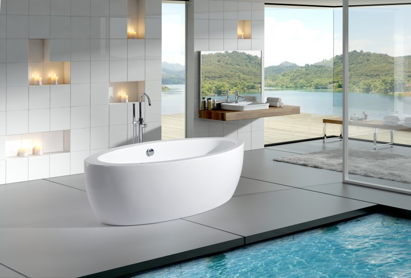 Freestanding Bathtub MODENA BS-859 white - 185 x 91 cm - acrylic -  incl.amature 8028