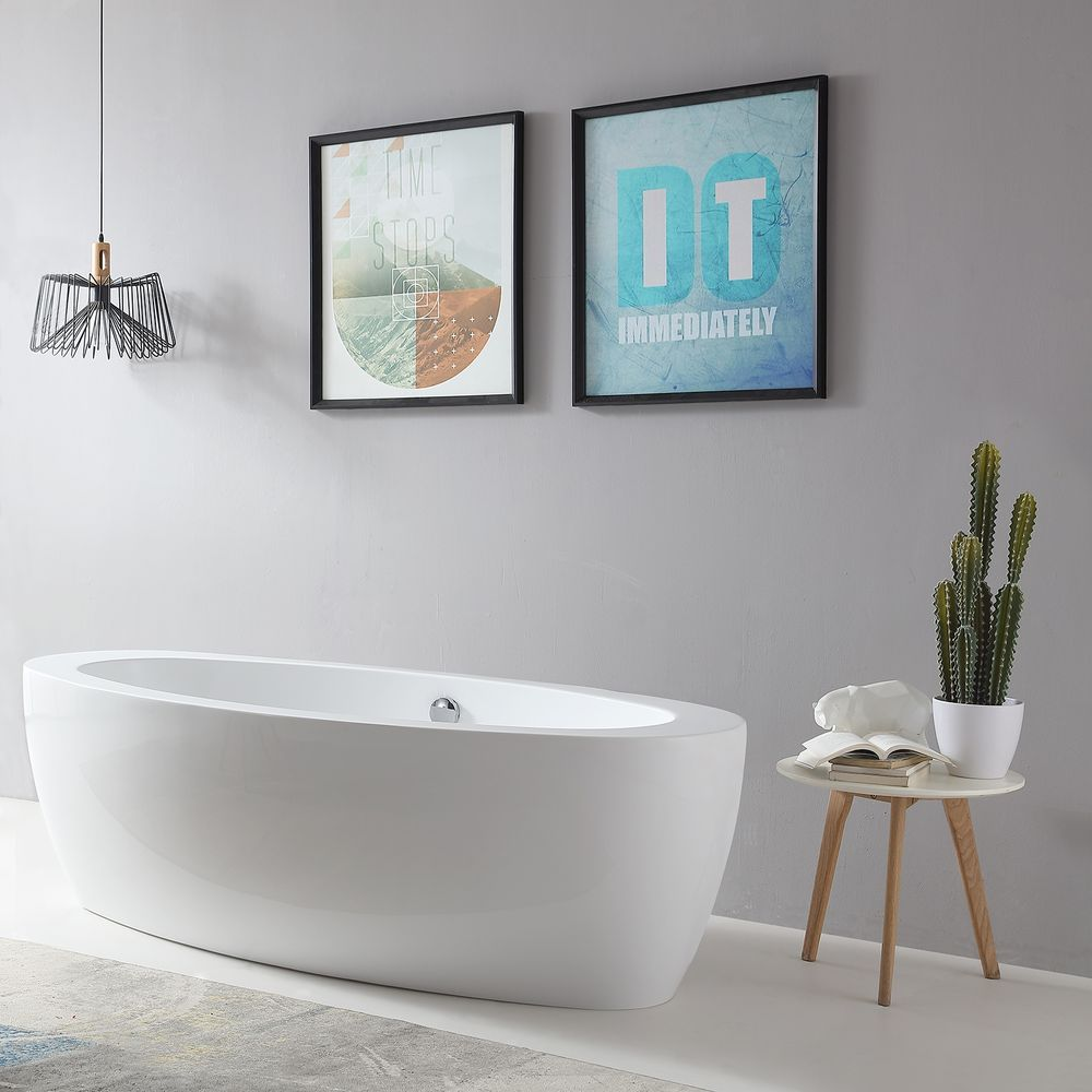 Freestanding Bathtub MODENA BS-859 white - 185 x 91 cm - acrylic -  incl.amature 8028  – Bild 2