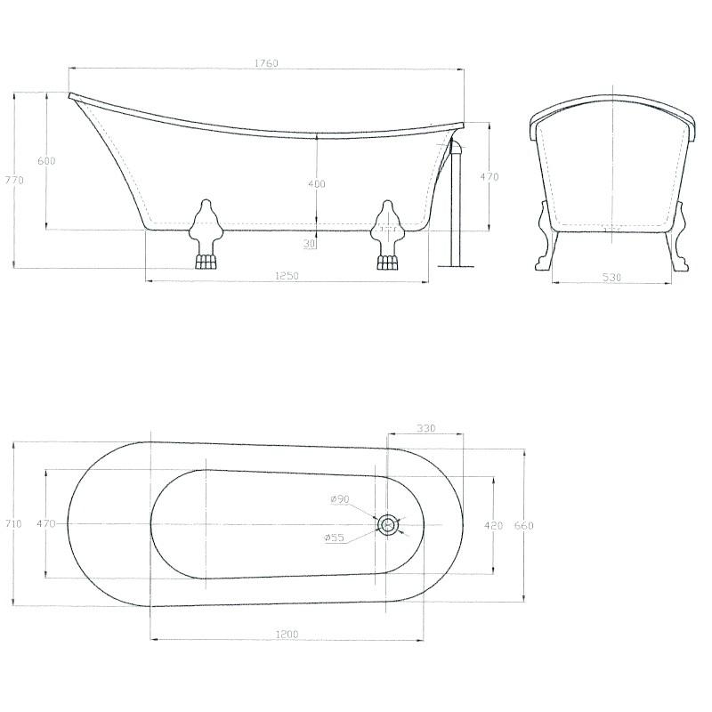 Freistehende Badewanne PARIS ACRYL BS-830 - Weiß - 176x71cm - Inkl. Armatur 1414 – Bild 5