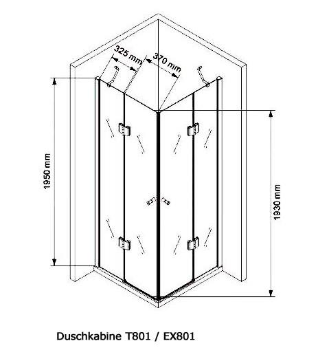 Paroi de douche en coin, verre véritable NANO T801 / EX801 - 80 x 80 x 195 cm, sans receveur de douche – Bild 7