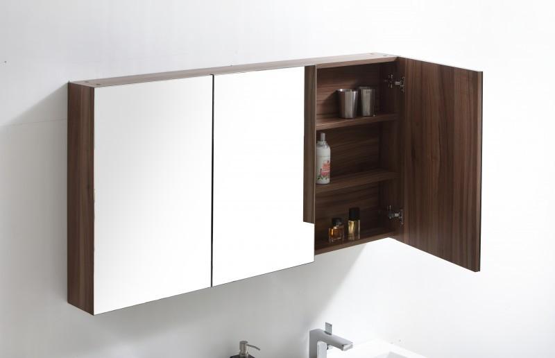 Meuble de salle de bain R1442L, armoire de toilette, meuble mural, double vasque et meuble sous vasque, noyer foncé – Bild 3