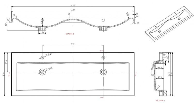 Meuble de salle de bain R1442L, armoire de toilette, meuble mural, double vasque et meuble sous vasque, noyer foncé – Bild 4