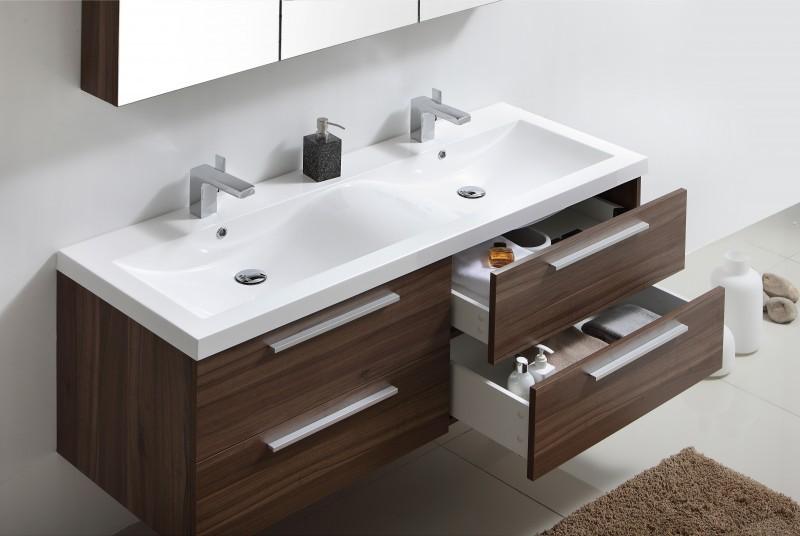 Meuble de salle de bain R1442R, armoire de toilette,meuble mural,double vasque noyer foncé – Bild 2