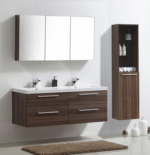 Ensemble de bain R 1449, noyer foncé, armoire de toilette, double vasque, meuble sous vasque, meuble mural R9 – Bild 1