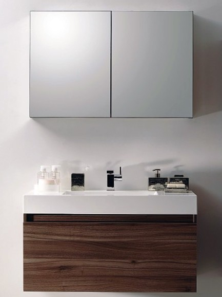 Bathroom Furniture Set A1000 Basic - dark walnut - without side cabinet – Bild 1
