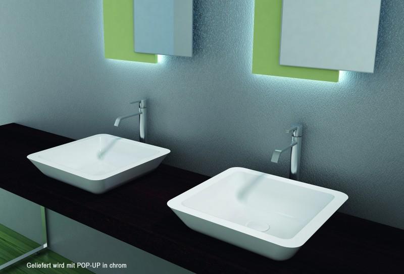 Aufsatzbecken Aufsatz-Waschbecken Quadrat PB2058 - Design geschwungen - 42,5 x 42,5 x 10,5 cm – Bild 2