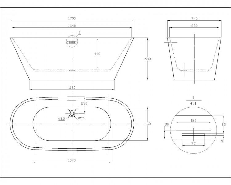 Freistehende Badewanne LUGANO Acryl weiß OMS-771 170 x 74 cm inkl. Ab-/Überlauf – Bild 7