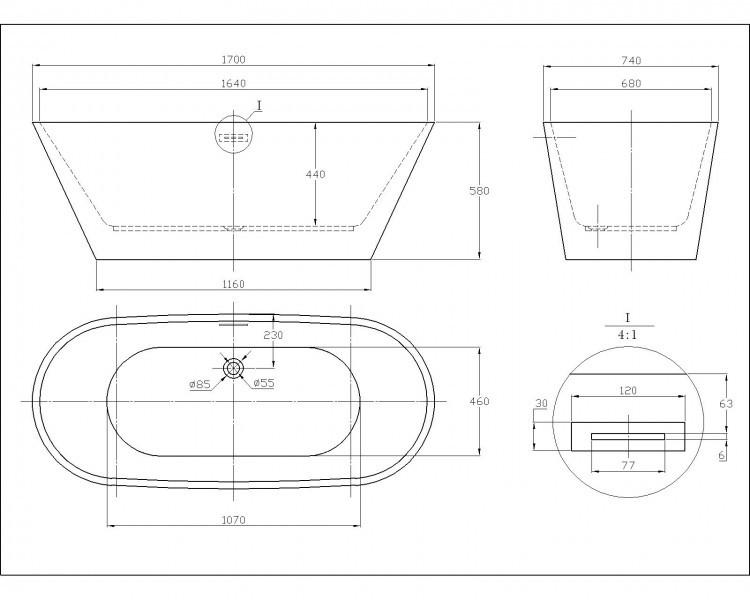 Freistehende Badewanne LUGANO Acryl weiß OMS-771 170x74 inkl. Ab-/Überlauf inkl. Armatur 8028 – Bild 8