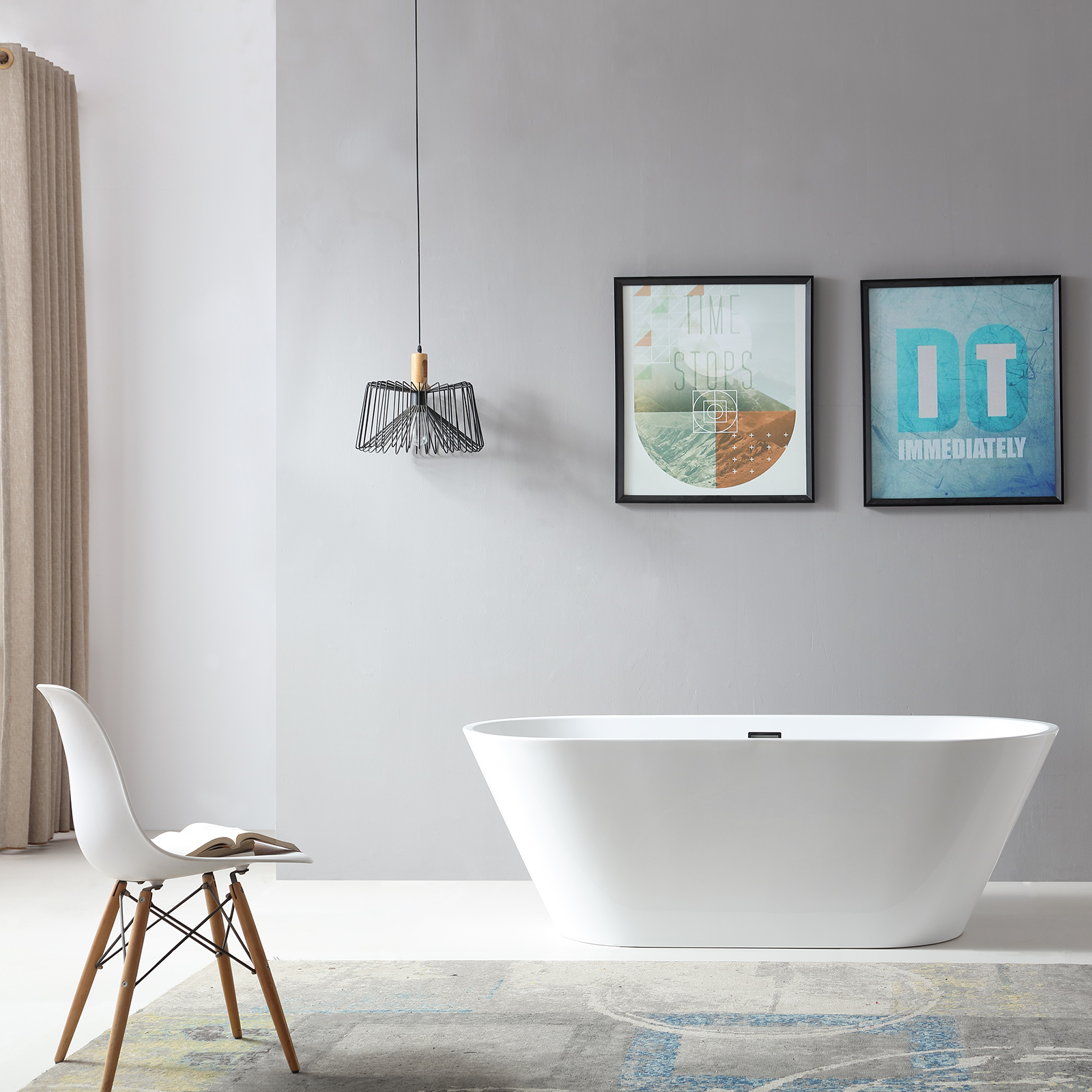 Freistehende Badewanne LUGANO Acryl weiß OMS-771 170 x 74 cm inkl. Ab-/Überlauf inkl. Armatur 1521