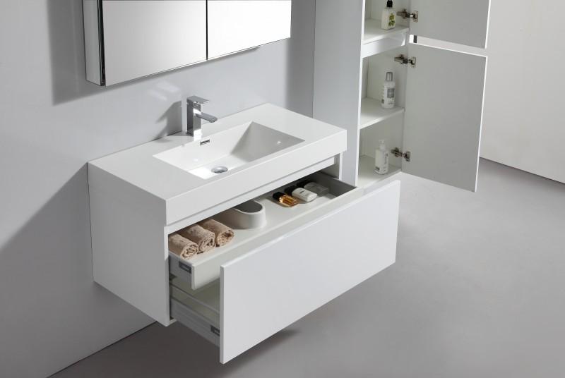 Ensemble de salle de bain A-1000 BASIC, armoire de toilette, vasque et meuble sous vasque, blanc – Bild 2