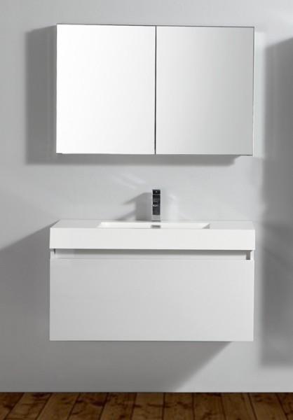 Ensemble de salle de bain A-1000 BASIC, armoire de toilette, vasque et meuble sous vasque, blanc – Bild 1