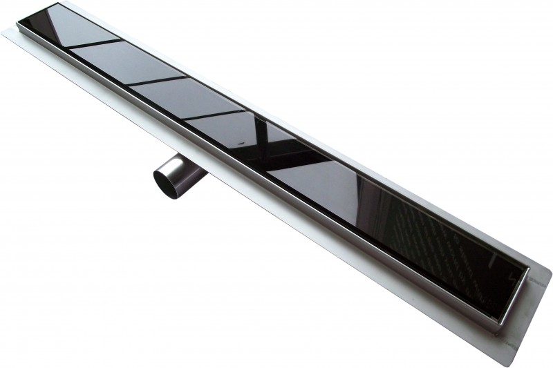 Shower channel GL01 - black glass shower drain - for walk-in showers - lengths specified – Bild 1