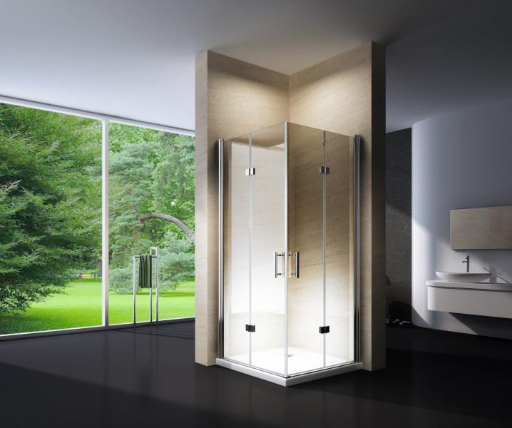 Duschkabine Eckeinstieg Falttür Nano Echtglas 8 mm EX213 - 80 x 80 x 195 cm – Bild 1