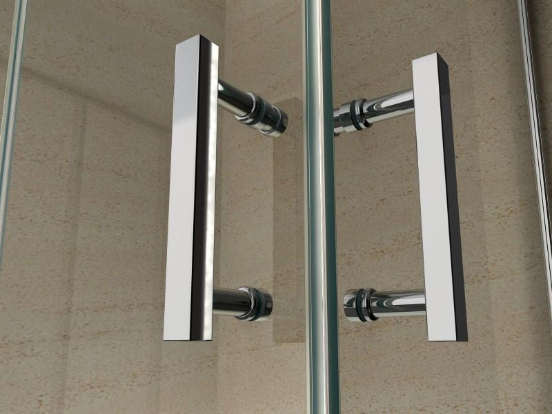 Duschkabine Eckeinstieg Falttür Nano Echtglas 8mm EX213 - 90 x 90 x 195 cm – Bild 3