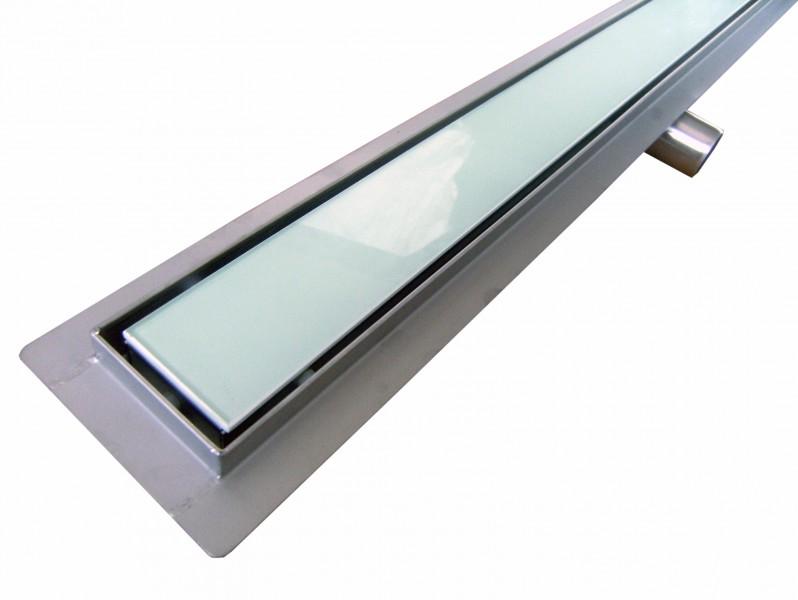 Caniveau de sol grand débit pour douche plain pied en verre blanc, GL02 - longueur sélectionnable – Bild 1