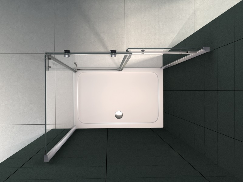 Duschkabine Nano Echtglas EX802 Schiebetür - 90 x 120 x 195 cm – Bild 2