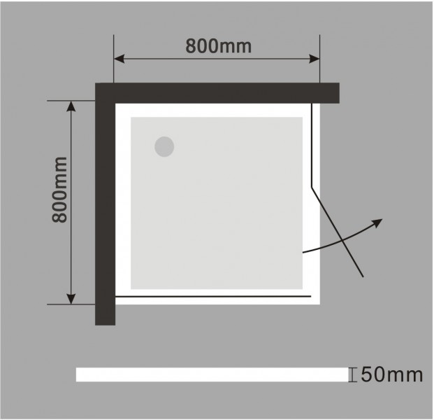 Shower cabin corner entrance EX403 - corner door - 8mm safety NANO Glass - 80 x 80 x 195cm – Bild 6