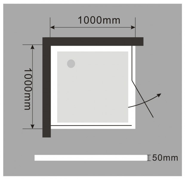 Shower cabin corner entrance EX213 - trap door - 8 mm Real NANO Glass - 100 x 100 x 195cm + shower tray – Bild 7