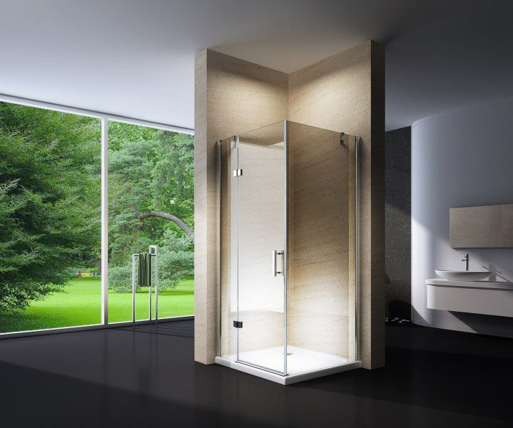 Shower enclosure, corner shower cubicle, NANO + shower tray EX403, 100x100x195cm – Bild 1