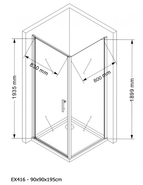 Corner shower cabin EX416 - corner installation - 8mm safety NANO Glass - 90 x 90 x 195cm – Bild 5