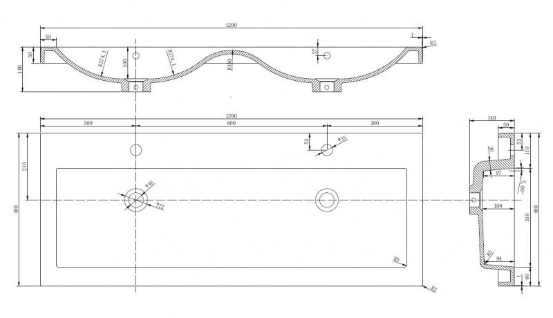 Ensemble de salle de bain R1200,blanc - en option miroir ou armoire de toilette T 900 – Bild 4
