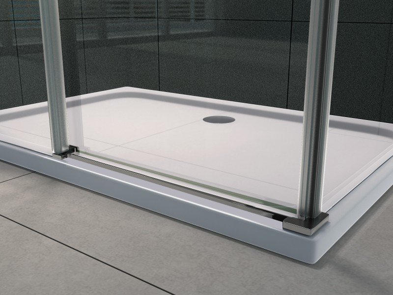 Paroi de douche fixe et porte coulissante verre véritable Nano 8mm EX802- 90x120x195cm avec receveur  – Bild 6