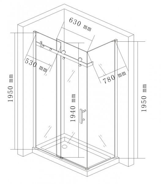 Box doccia angolare con porta scorrevole e lato fisso EX802 - 90 x 120 x 195 cm + piatto doccia – Bild 7