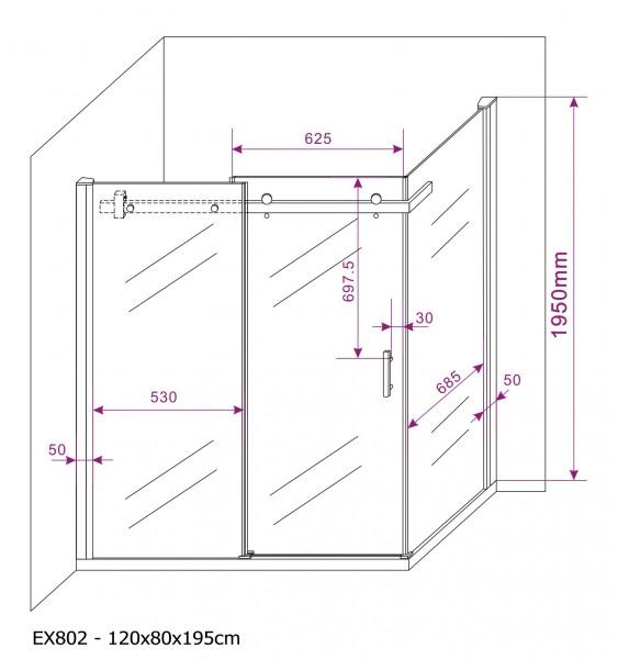 Duschkabine Duschabtrennung mit Schiebetür Nano Echtglas EX802 - 120 x 80 x 195 cm – Bild 7