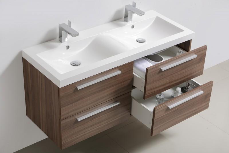 Badmöbelset R1200 Walnuss - Spiegel und Hängeschrank optional – Bild 1