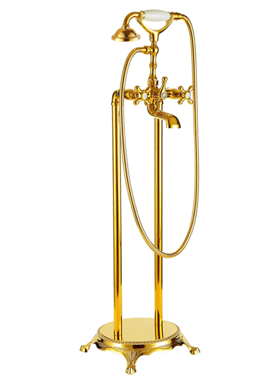 Standarmatur freistehend Wannenarmatur rund Armatur 1414 Gold
