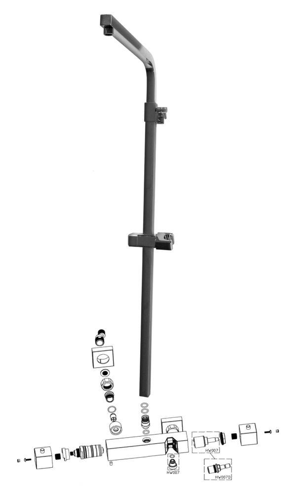 Design-Duschsäule Thermostat 3011 Basic inkl. Handbrause - Auswahl Duschkopf eckig – Bild 9