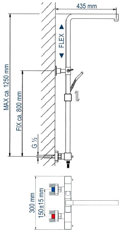 Design Shower column 3011 BASIC - mit including hand shower - thermostatic shower panel - shower head optional – Bild 3