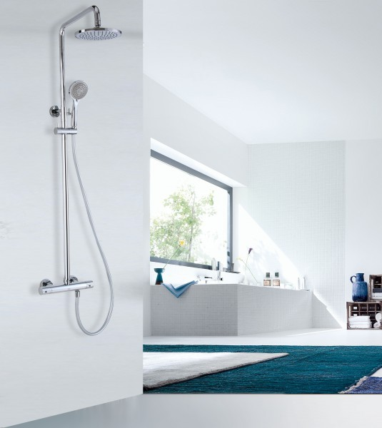 Design shower column 4011 BASIC - thermostatic shower panel - mit including hand shower - round shower head optional – Bild 1