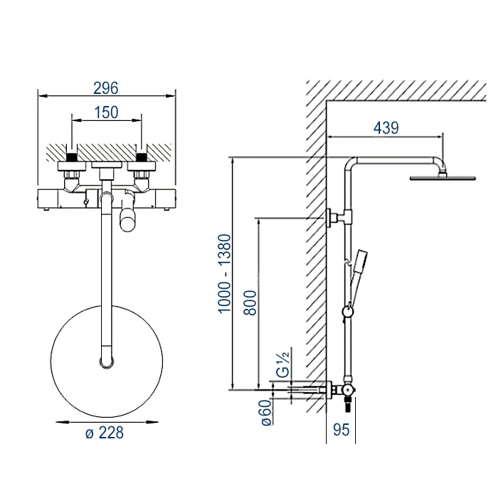 Design shower column 4011 BASIC - thermostatic shower panel - mit including hand shower - round shower head optional – Bild 3