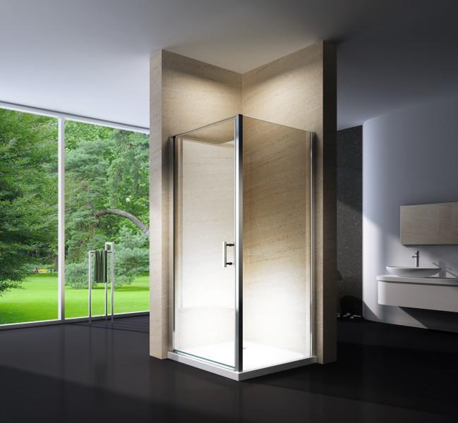 Paroi de douche d'angle EX416 - en verre véritable NANO - 80 x 80 x 195cm - avec receveur – Bild 1