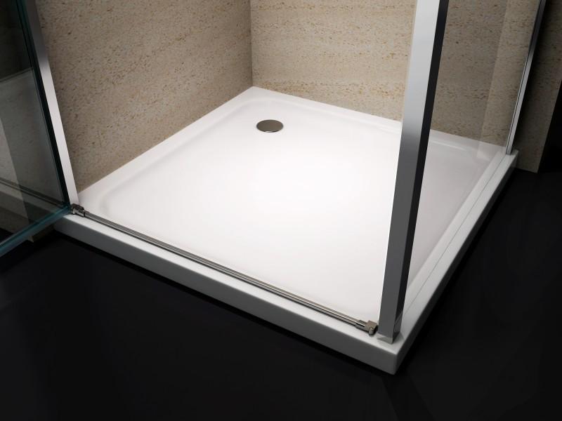 Paroi de douche d'angle EX416 - en verre véritable NANO - 80 x 80 x 195cm - avec receveur – Bild 3