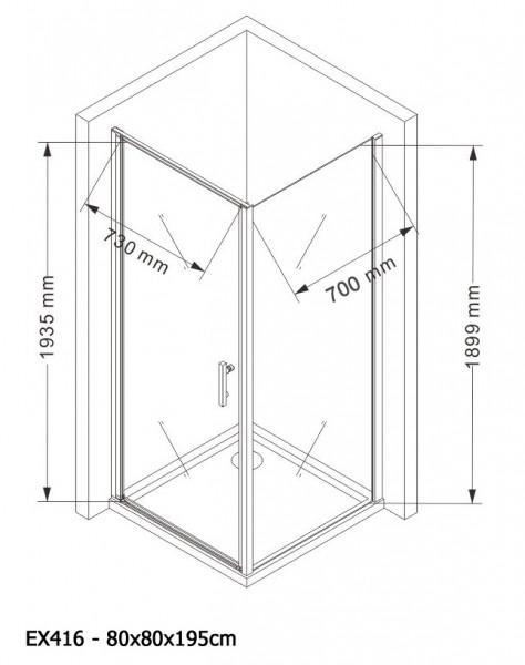 Mampara de ducha de esquina EX416 - de cristal auténtico NANO - 80 x 80 x 195 cm - con plato – Bild 6