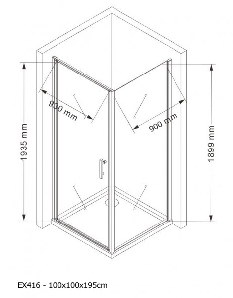Corner shower cabin EX416 - corner entrance - 8mm safety NANO Glass - 100 x 100 x 195cm - shower tray included – Bild 5