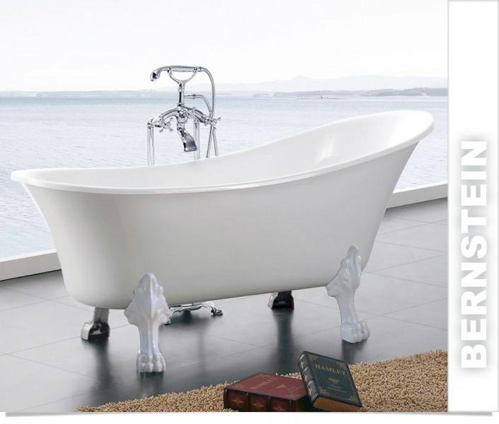 Vasca da bagno freestanding stile retrò in acrilico sanitario PARIS bianco - colore di piedi e ...