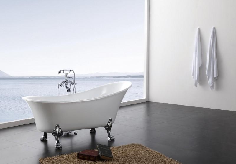 Freistehende Badewanne PARIS Acryl weiß BS-830 176 x 71 cm - Metallfüße wählbar – Bild 1