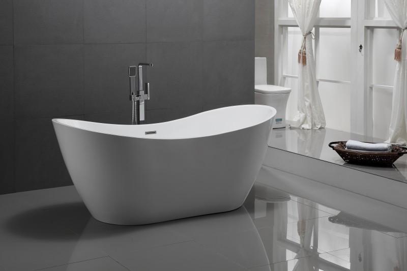 Freistehende Badewanne Acryl VIENA weiß - 180 x 80 cm – Bild 2