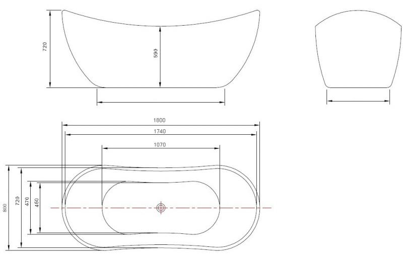 Freistehende Badewanne Acryl VIENA weiß - 180 x 80 cm – Bild 3