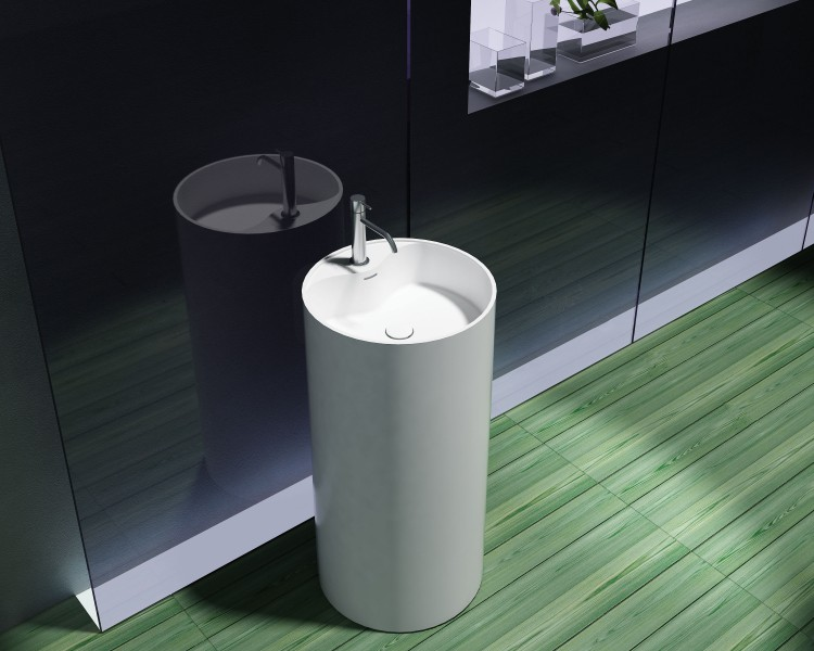 Lavabo colonne totem PB2021 - Ø45 x 90cm  - blanc - Solid Stone – Bild 2