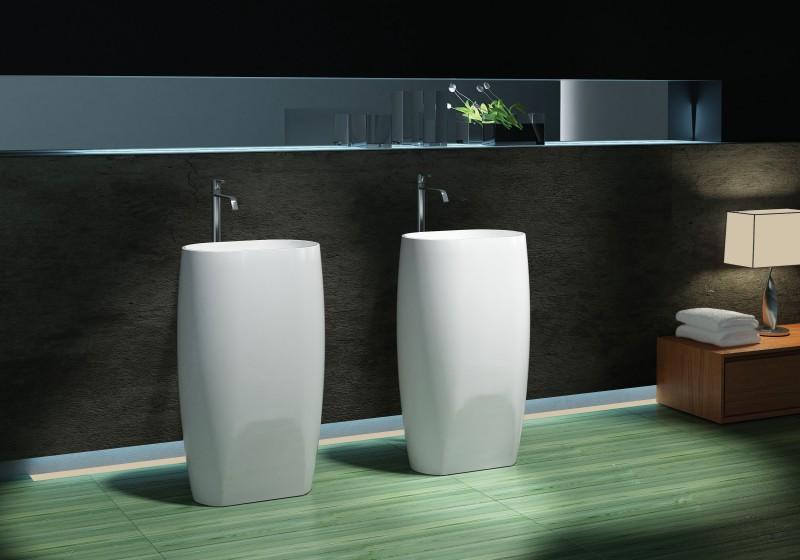 Lavabo colonne totem PB2034 - 53 x 38 x 90cm - blanc - Solid Stone ...