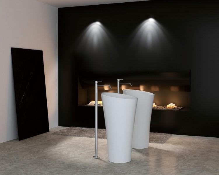 Freistehendes Waschbecken aus Mineralguss PB2198 weiß - 50 x 90 cm - Solid Stone